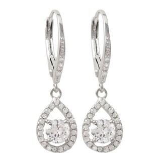 Luxiro Sterling Silver Cubic Zirconia Teardrop Dangle Earrings