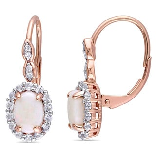 Miadora 14k Rose Gold Oval-cut Opal, White Topaz and Diamond Accent Halo Leverback Drop Earrings