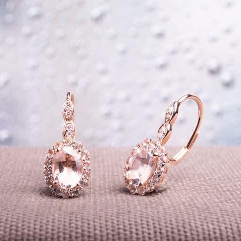 Miadora 14k Rose Gold Oval-cut Morganite White Topaz and Diamond Accent Halo Leverback Earrings - Pink