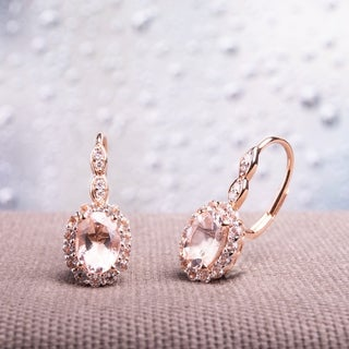 Miadora 14k Rose Gold Oval-cut Morganite White Topaz and Diamond Accent Halo Leverback Earrings