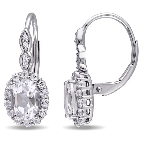 73f75eaed Miadora 14k White Gold Oval-cut White Topaz and Diamond Accent Halo  Leverback Drop Earrings