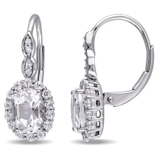 Miadora 14k White Gold Oval-cut White Topaz and Diamond Accent Halo Leverback Drop Earrings