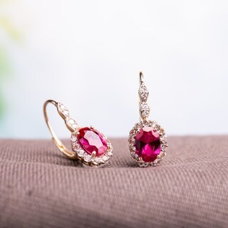 Miadora 14k Yellow Gold Oval-cut Created Ruby White Topaz and Diamond Accent Halo Leverback Earrings