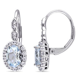 Miadora 14k White Gold Oval-cut Aquamarine, White Topaz and Diamond Accent Halo Leverback Drop Earrings