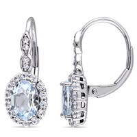 Miadora 14k White Gold Oval-cut Aquamarine, White Topaz and Diamond Accent Halo Leverback Drop Earrings
