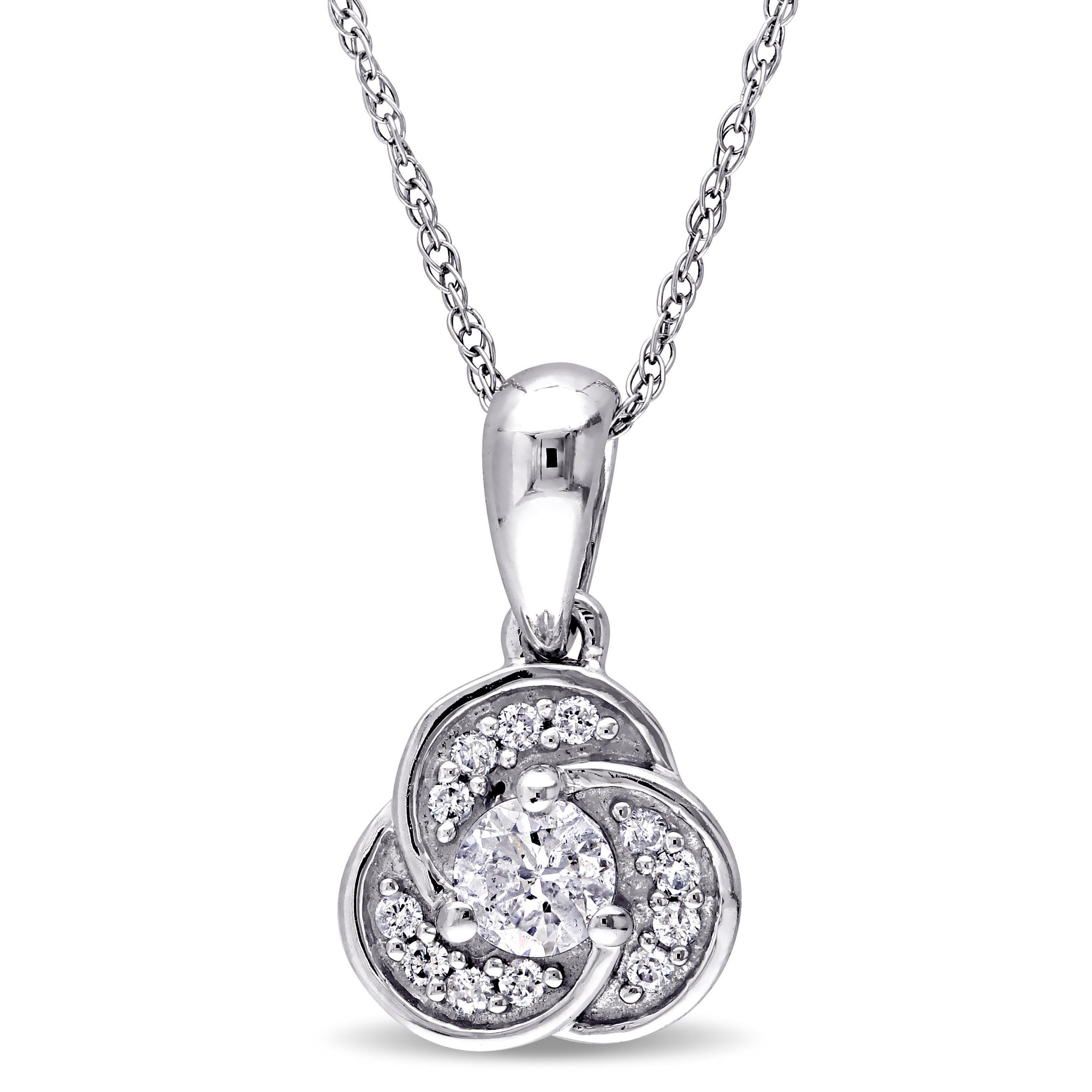 Black Diamond Dangling Heart Pendant 1//3ct 10k White Gold