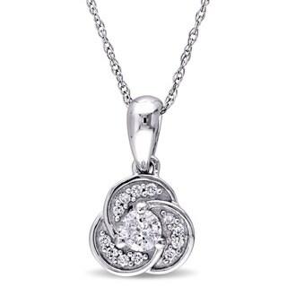 Miadora 10k White Gold 1/3ct TDW Diamond Flower Drop Necklace