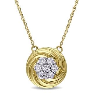 Miadora 10k Yellow Gold 1/4ct TDW Diamond Flower Necklace