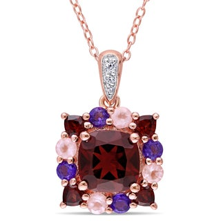 Miadora Rose Plated Sterling Silver Cushion-cut Garnet White Topaz Amethyst and Rose Quartz Halo Necklace
