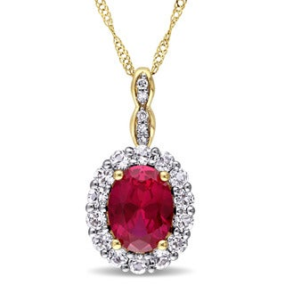 Miadora 14k Yellow Gold Oval-cut Created Ruby, White Topaz and Diamond Accent Halo Drop Necklace (G-H, I1-I2)