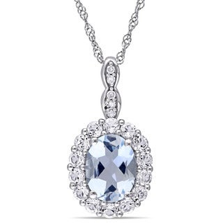 Miadora 14k White Gold Oval-cut Aquamarine, White Topaz and Diamond Accent Birthstone Halo  Drop Necklace (G-H, I1-I2)