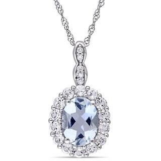 Miadora 14k White Gold Oval-cut Aquamarine, White Topaz and Diamond Accent Birthstone Halo Drop Necklace (G-H, I1-I2)