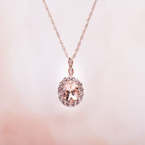 Miadora 14k Rose Gold Oval-cut Morganite, White Topaz and Diamond Accent Halo Drop Necklace
