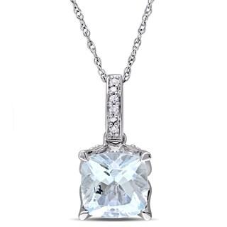 Miadora 10k White Gold Cushion-cut Aquamarine and Diamond Accent Birthstone Drop Necklace