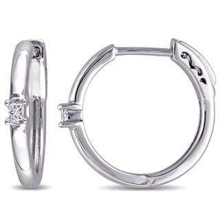 Miadora 10k White Gold 1/10ct TDW Princess-cut Diamond Hoop Earrings (G-H, I2-I3)