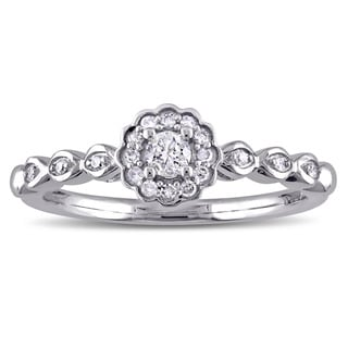 Miadora 10k White Gold 1/5ct TDW Diamond Halo Flower Promise Ring