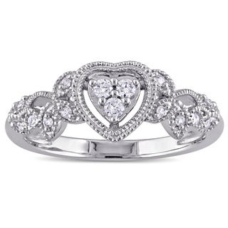 Miadora 10k White Gold 1/7ct TDW Diamond Heart Vintage Ring