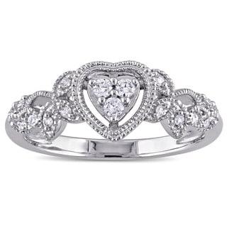 Miadora 10k White Gold 1/7ct TDW Diamond Heart Vintage Ring