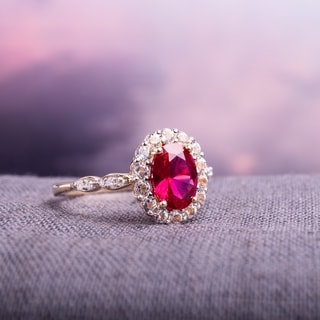Link to Miadora 14k Yellow Gold Oval-cut Created Ruby, White Topaz and Diamond Accent Halo Cocktail Ring Similar Items in Rings