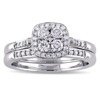 Miadora 10k White Gold 1/2ct TDW Diamond Quad Halo Bridal Ring Set