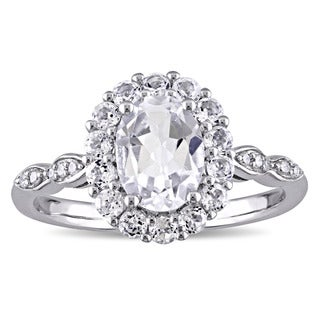 Miadora 14k White Gold Oval-cut White Topaz and Diamond Accent Halo Engagement Ring