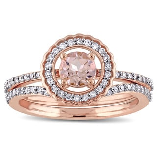 Miadora Signature Collection 14k Rose Gold Morganite and 1/3ct TDW Diamond Halo Bridal Ring Set (G-H, I1-I2)