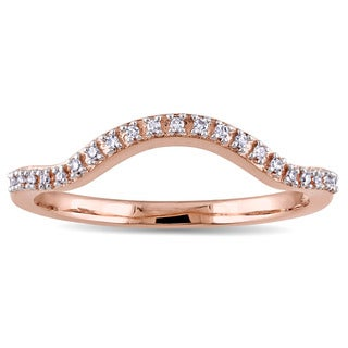 Miadora 10k Rose Gold Diamond Accent Contour Wedding Band
