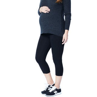 Ashely Nicole Maternity Women's White/Blue/Black Cotton/Lycra Capri Leggings