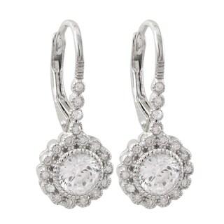 Luxiro Sterling Silver Cubic Zirconia Flower Leverback Earrings