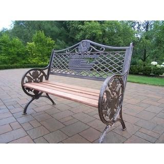 Oakland Living Corporation God Bless America Cast-aluminum/Wrought-iron/Wood Bench