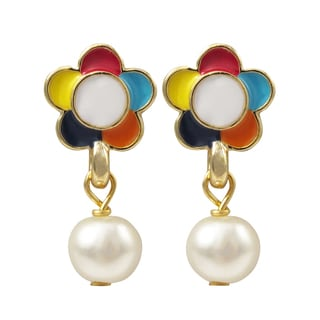 Luxiro Gold Finish Faux Pearl Enamel Flower Children's Dangle Earrings