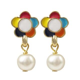 Luxiro Gold Finish Faux Pearl Enamel Flower Children's Dangle Earrings