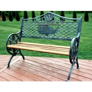 Oakland Living Corporation 'God Bless America' Black, Grey, and Green Wrought iron Bench