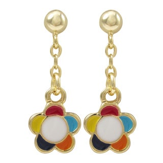 Luxiro Gold Finish Sterling Silver Enamel Flower Children's Dangle Earrings