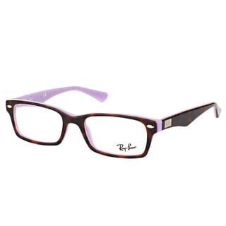 Ray-Ban Unisex RX 5206 5240 Havana on Opal Violet Plastic 54-millimeter Rectangle Eyeglasses
