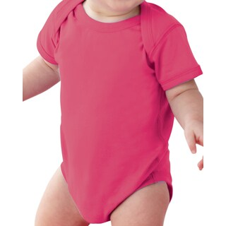 Rabbit Skins Infants' Hot Pink Fine Jersey Lap Shoulder Bodysuit