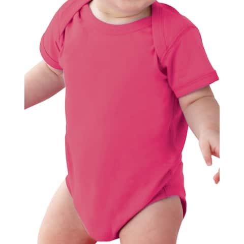 Rabbit Skins Infants' Hot Pink Fine Jersey Lap Shoulder Bodysuit