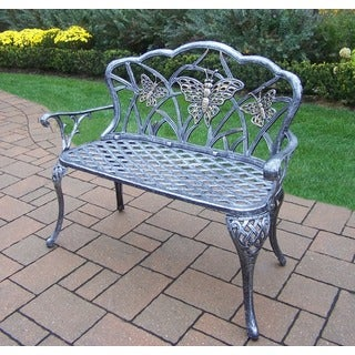Oakland Living Corporation Black, Gold and Silver Majestic Cast Aluminum and Wrought Iron Loveseat Bench