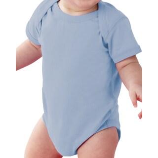 Rabbit Skins Infants' Light Blue Fine Jersey Lap Shoulder Bodysuit
