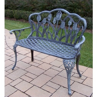Oakland Living Corporation Tierra Black/Green Wrought Iron/Cast Aluminum Loveseat Bench