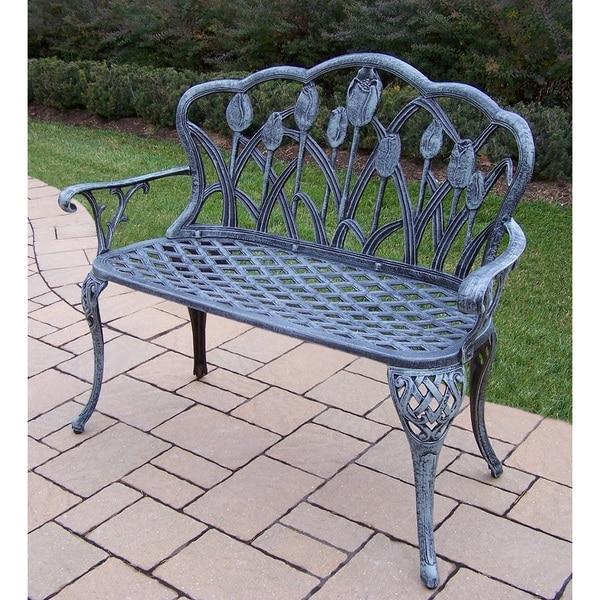 Tierra Verdi Grey Cast Aluminum Loveseat Bench