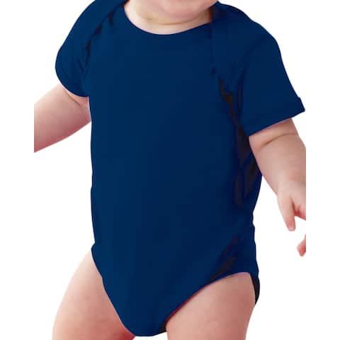 Rabbit Skins Blue Cotton Polyester Fine Jersey Lap Shoulder Infant Bodysuit