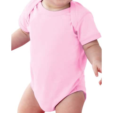 Rabbit Skins Infants' Fine Jersey Pink Lap Shoulder Bodysuit