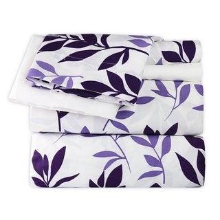 Plum and Lavender Leaves Sheet Set