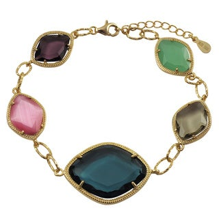 Luxiro Gold Finish Sterling Silver Multi-color Sliced Glass Bracelet