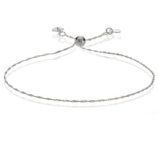 Mondevio 14k White Gold 0.9mm Singapore Adjustable Italian Chain Bracelet, 7-9 Inches