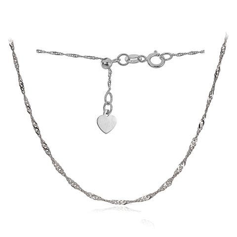 Mondevio 14k White Gold .9mm Singapore Adjustable Italian Chain Necklace, 14-20 Inches