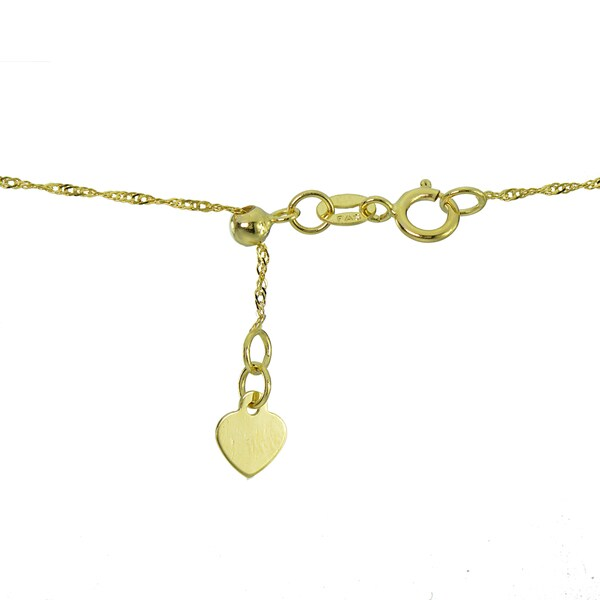 """14K Real Yellow Gold 0.9mm Ball Adjustable Chain Necklace 20/"""" Inches for Women"""
