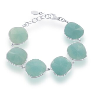 La Preciosa White/Pink Sterling Silver Gemstone Link Bracelet