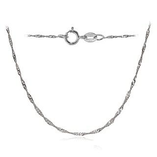 Mondevio 14k White Gold .9mm Singapore Italian Chain Necklace, 24 Inches